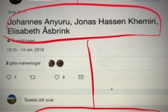"""""""Name Swedish writers, the best you know of."""" Capture from Twitter 2018"""